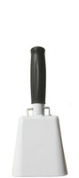 """- 8.5"""" from bottom of bell to top of welded handle - 3.5"""" wide at the bottom of the cowbell - 2.00"""" deep at the bottom of the cowbell - 4.5"""" handle length - Vinyl grip - Durable powder coated white paint"""