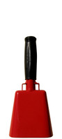 """- 8.5"""" from bottom of bell to top of welded handle - 3.5"""" wide at the bottom of the cowbell - 2.00"""" deep at the bottom of the cowbell - 4.5"""" handle length - Vinyl grip - Durable powder coated red paint"""