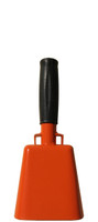 """- 8.5"""" from bottom of bell to top of welded handle - 3.5"""" wide at the bottom of the cowbell - 2.00"""" deep at the bottom of the cowbell - 4.5"""" handle length - Vinyl grip - Durable powder coated bright orange paint"""