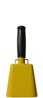 """- 8.5"""" from bottom of bell to top of welded handle - 3.5"""" wide at the bottom of the cowbell - 2.00"""" deep at the bottom of the cowbell - 4.5"""" handle length - Vinyl grip"""