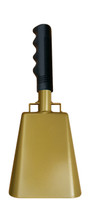 "- 10"" from bottom of bell to top of welded handle - 4.25"" wide at the bottom of the cowbell - 2.50"" deep at the bottom of the cowbell - 5.00"" handle length - Vinyl grip - Durable powder coated gold paint"