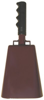 "- 11"" from bottom of bell to top of welded handle - 4.75"" wide at the bottom of the cowbell - 3.00"" deep at the bottom of the cowbell - 5.00"" handle length - Vinyl grip - Durable powder coated maroon paint"
