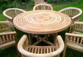 Turnworth Teak 150cm Round Ring Table Set with Banana Arm Chairs
