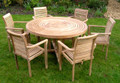 Turnworth Teak 150cm Round Ring Table Set with Lovina Stacking Chairs