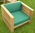Asmara Teak Outdoor Box Chair With Thick weatherproof Cushion teak garden furniture from chairsandtables.co.uk