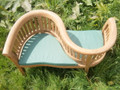 Teak Banana Love Seat with cushions teak garden furniture from chairsandtables.co.uk