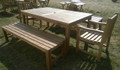 Southwold Rectangular 180 cm Teak Table Set with Backless Benches 1