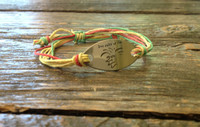 "The Salty Surfer tribal vibe ""live salty or die"" rasta hemp bracelet"