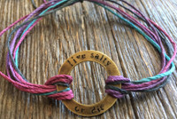 "The Salty Surfer tribal vibe circle ""live salty or die"" Purple Haze hemp bracelet"