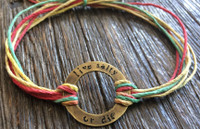 "The Salty Surfer tribal vibe circle ""live salty or die"" RASTA hemp bracelet"