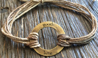 "The Salty Surfer tribal vibe circle ""good love"" SAFARI SAND hemp bracelet"