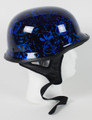 103BYB - DOT German BoneYard Blue Motorcycle Helmet