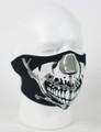 Face Mask - 1/2 Chrome Skull Face Neoprene