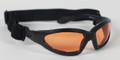 BIKER SUNGLASSES - GXR Sunglass, Black Frame, Anti-fog Amber Lenses