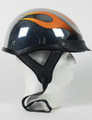 1CF - DOT CHROME FLAME SHORTY MOTORCYCLE HELMET