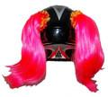 Pink Helmet pigtails