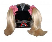 Blonde Motorcycle Helmet Pigtails