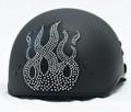 Rhinestone Helmet Patch - Flame