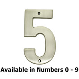 "Sold Brass 5"" Satin Nickel House Number"