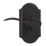 Molten Bronze Carlow Left Hand Dummy Door Lever with Premiere Rosette - Oil Rubbed Bronze