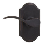 Molten Bronze Carlow Left Hand Privacy Door Lever with Premiere Rosette - Oil Rubbed Bronze