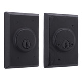Molten Bronze Double Cylinder Deadbolt with Square Rosette - Black