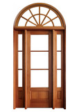 Mahogany Alexandria TDL 3LT 8/0 Single Door with 2 Sidelights and Half Round Transom