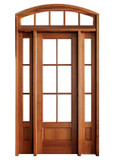Mahogany Alexandria TDL 6LT 6/8 Single Door with 2 Sidelights and Segment Arch Transom