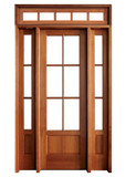 Mahogany Alexandria TDL 6LT 8/0 Single Door with 2 Sidelights and Rectangular Transom