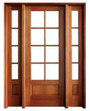 "Mahogany Alexandria TDL 8LT 8/0 3'6"" Single Door with 2 Sidelights"