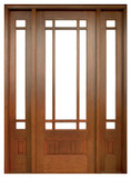 Mahogany Alexandria TDL 9LT 8/0 Single Door with 2 Sidelights