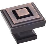 """Brushed Oil Rubbed Bronze 1-1/4"""" Delmar Decorative Square Cabinet Knob (585L-DBAC)"""