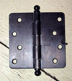 "Oil Rubbed Bronze 4"" X 4"" X 1/4"" Corner Door Hinge with Ball Tip"