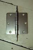"Satin Nickel 3.5"" X 3.5"" X 1/4"" Corner Door Hinge with Steeple Tip"