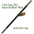 Appearing Wand - 4 Feet Black & Silver THIN