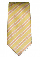 Light yellow with white and brown stripped Tie