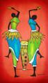 Kenyan Batik: Lady Drummers