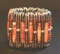 South African Safety Pin Bracelets: Copper and Pink Paper Beaded Safety Pin Bracelet