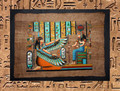 Egyptian Papyrus Art: Ma'at and Isis