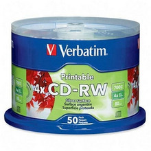 Verbatim CD-RW SP Rewritable Branded Discs, 50 per Spindle