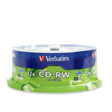 Verbatim CD-RW Rewritable Branded Discs, 25 per Spindle