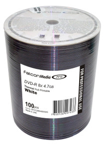 Falcon White Thermal Printable 8x DVD-R Discs, 100/ Spindle