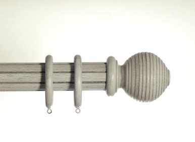 Grey 50mm Half Smooth, Half Reeded Wooden Pole Rigato