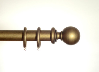 Antique Gold Wooden Curtain Pole 50mm Spirea