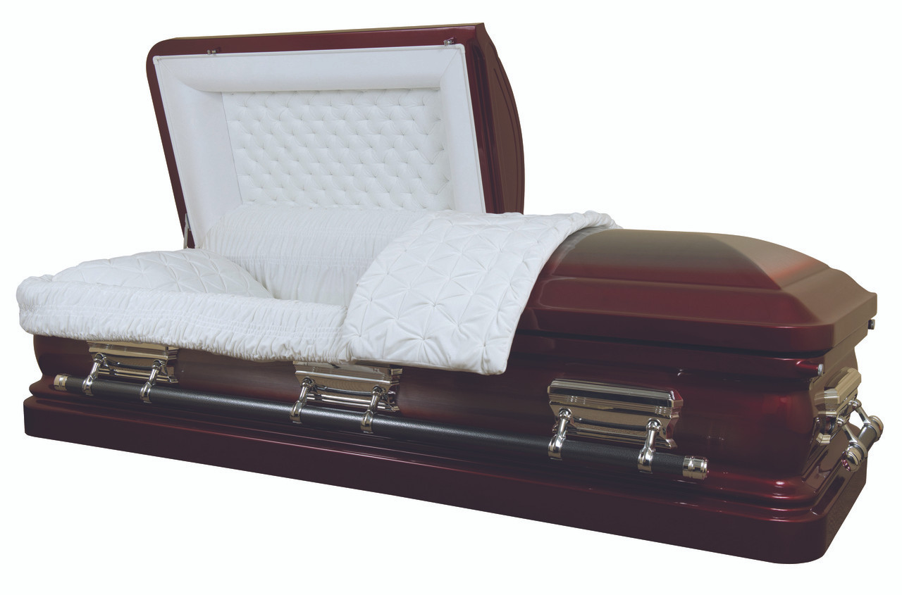 Rose red brush silver finish with light cream velvet interior overnight caskets for Black casket with red interior