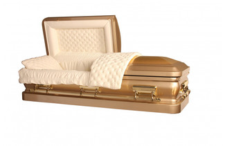 Bronze Casket - Brush Gold with Light Gold Finish Almond Velvet Interior