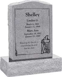 Upright Headstone Monument - Polished Front and Back - 10 Color Choices - Starting at $1349