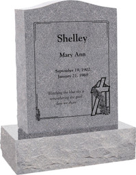 Upright Head Stone Monument - Polished Top, Front, and Back - 10 Color Choices - Starting at $1449