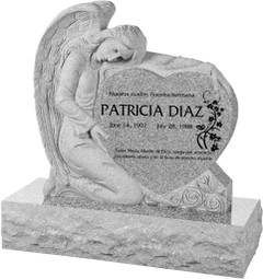 "Angel with Heart Headstone with 40"" Base - Polished All Sides - 10 Color Choices - Starting at $2969"