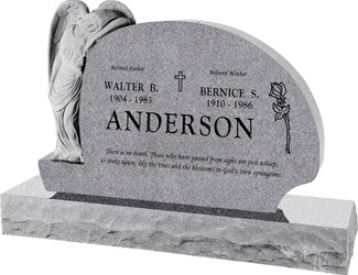 "Resting Angel Headstone with 66"" Base - 10 Color Choices - Starting at $5309"